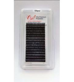 Extensiones en TIRAS Elípticas Negras Espesas (0,15) X 12mm